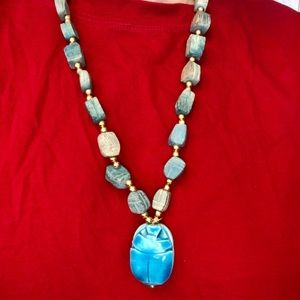 Vintage Egyptian Scarab Soapstone Necklace